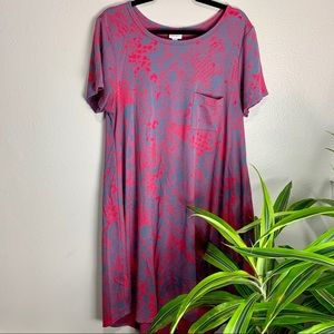 LuLaRoe Gray/Pink Patterned Carly Dress